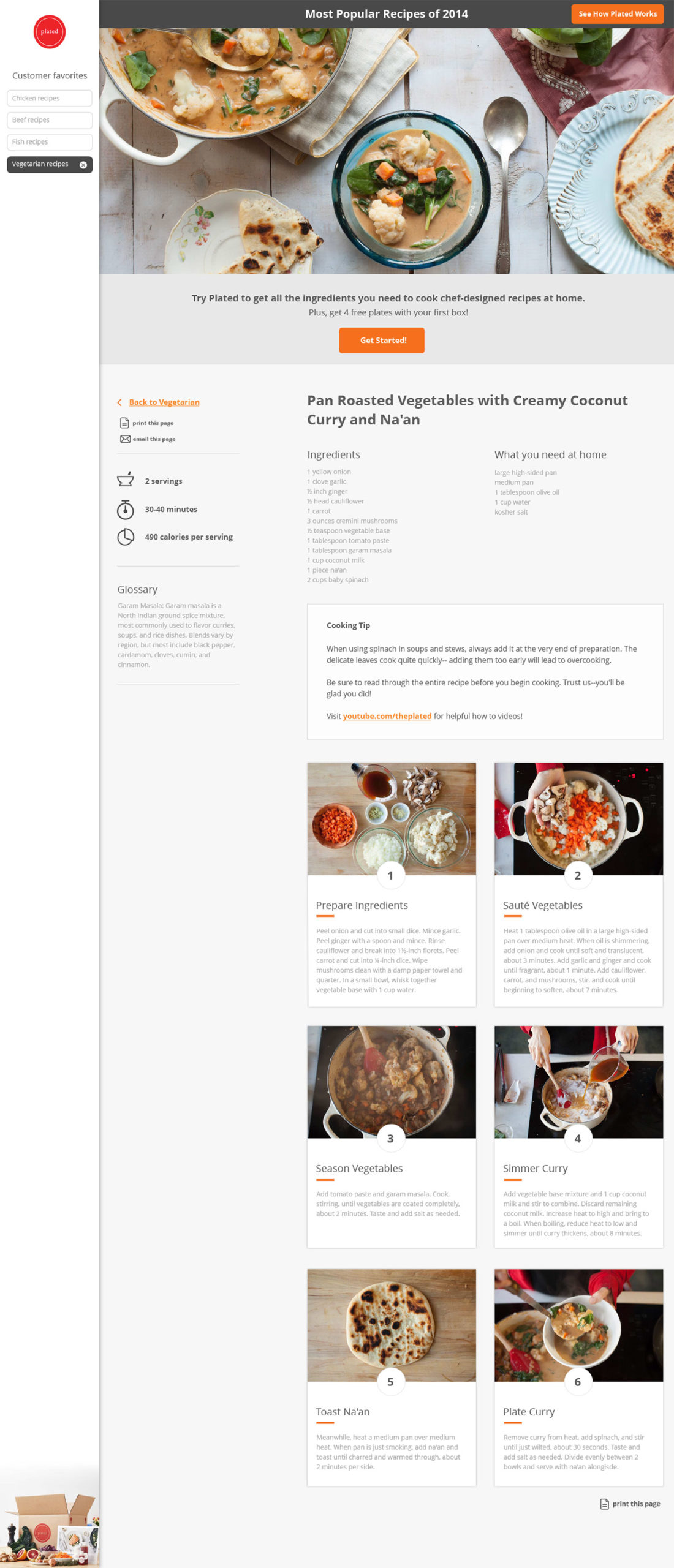 Plated example recipe page