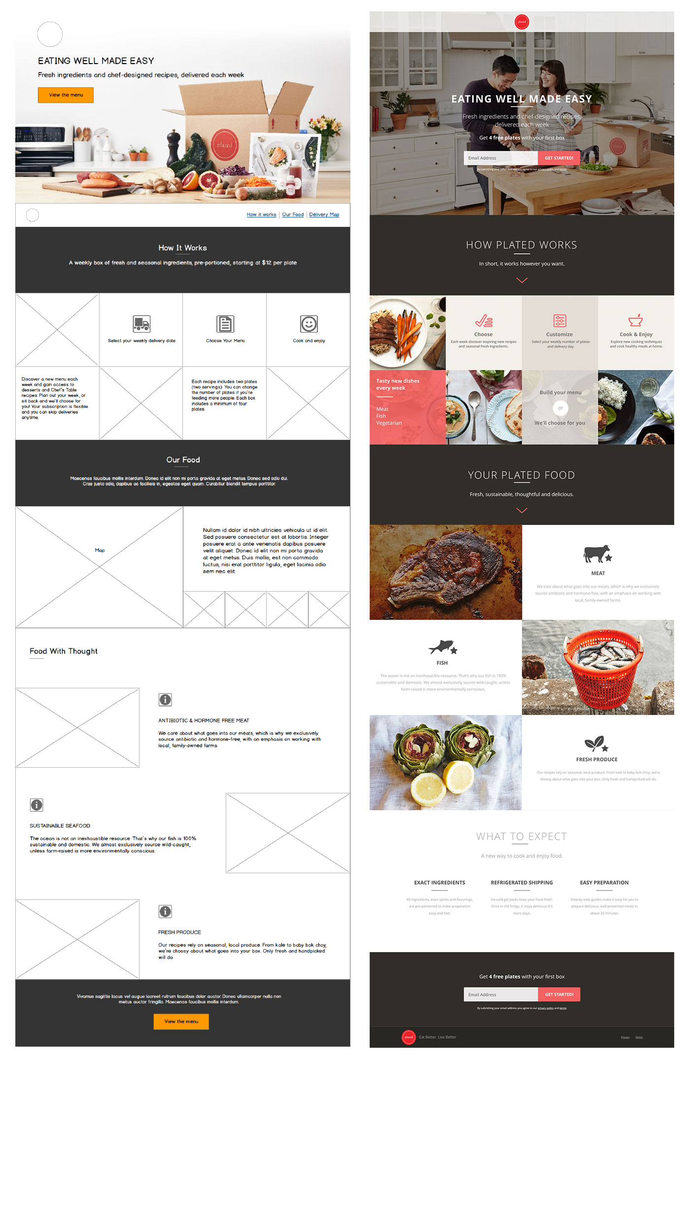 Plated landing page wireframe and ui