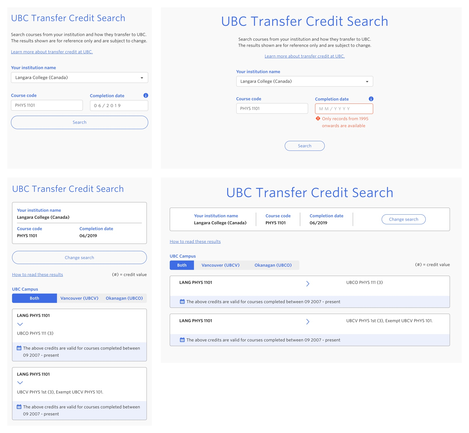 Transfer credit ui mobile and desktop