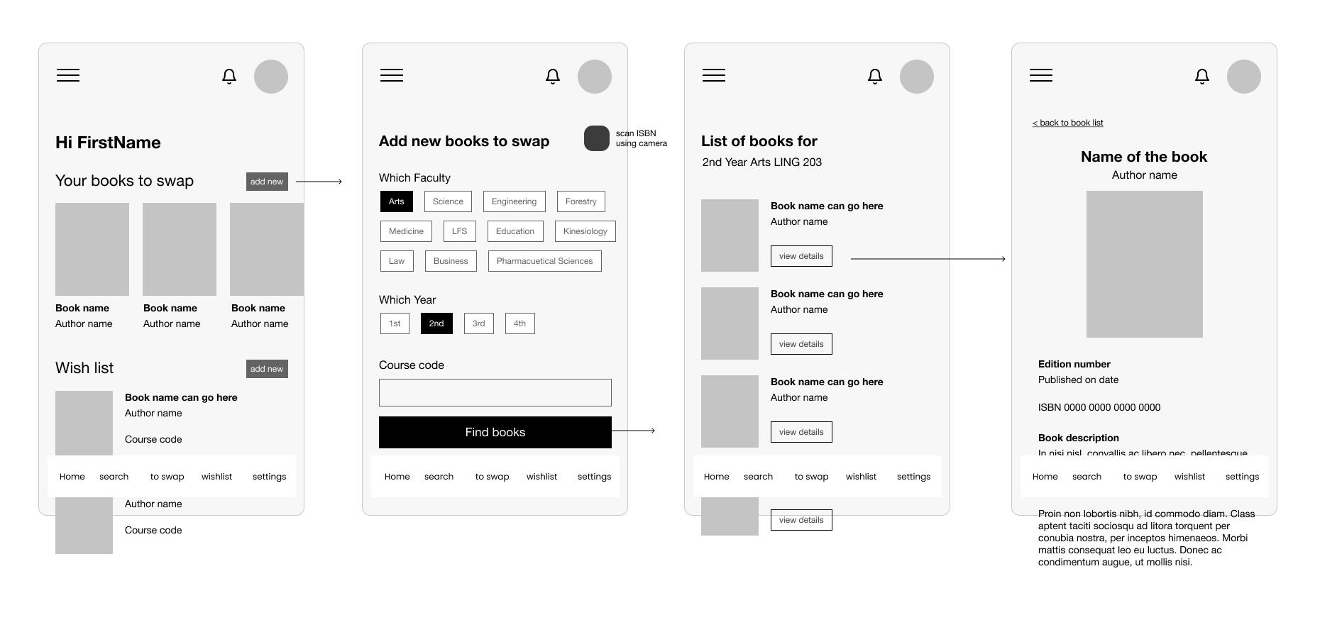 Bookswap wireframes
