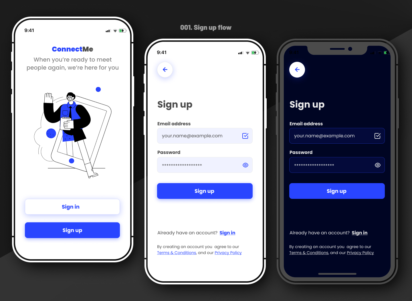 Sign up flow and UI design for a fictional app