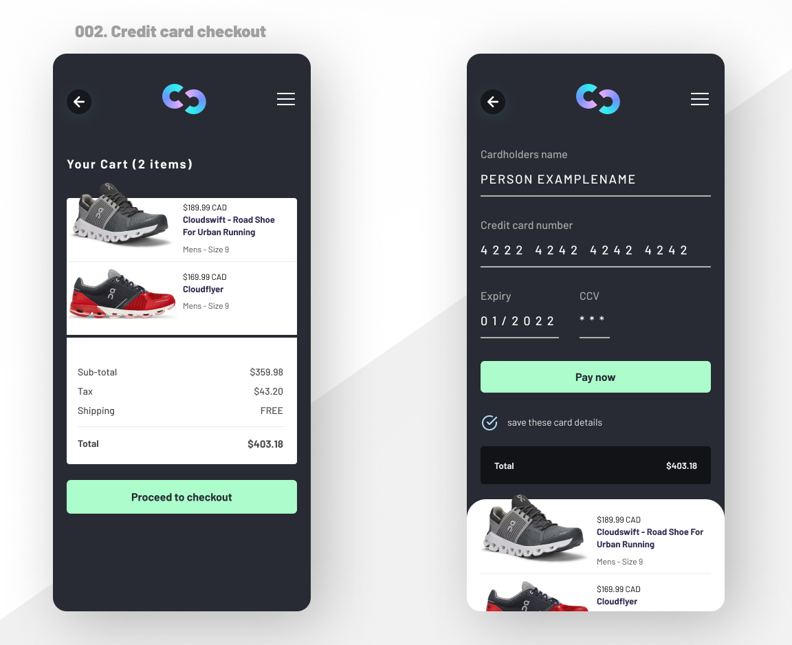 Checkout and credit card ui design for a fictional app