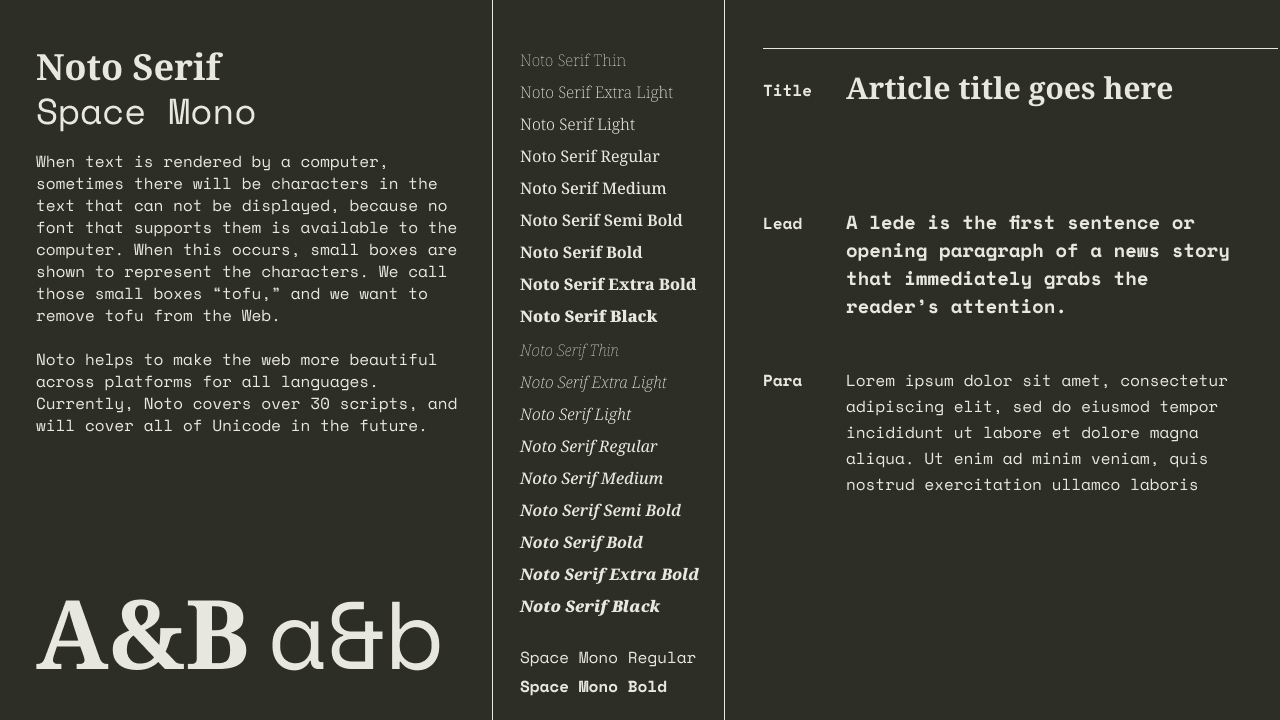 Noto Serif and Space Mono type specimen